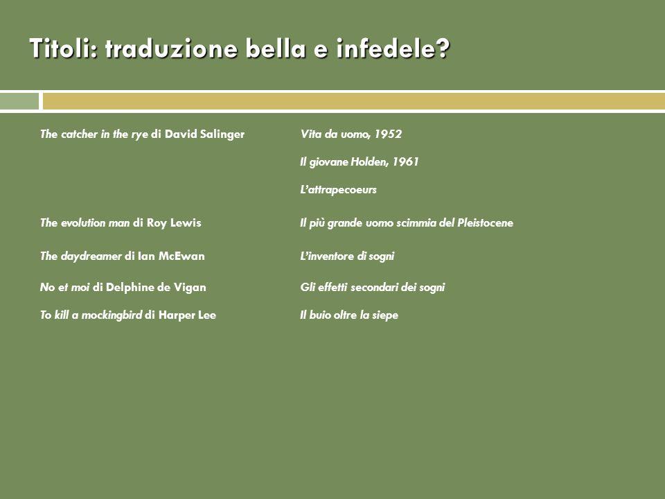 Titoli: traduzione bella e infedele? The catcher in the rye di David SalingerVita da uomo, 1952 Il giovane Holden, 1961 Lattrapecoeurs The evolution m