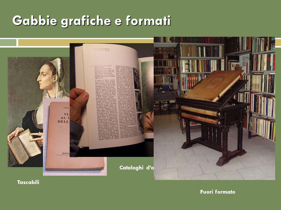 Gabbie grafiche e formati Cataloghi darte Tascabili Fuori formato