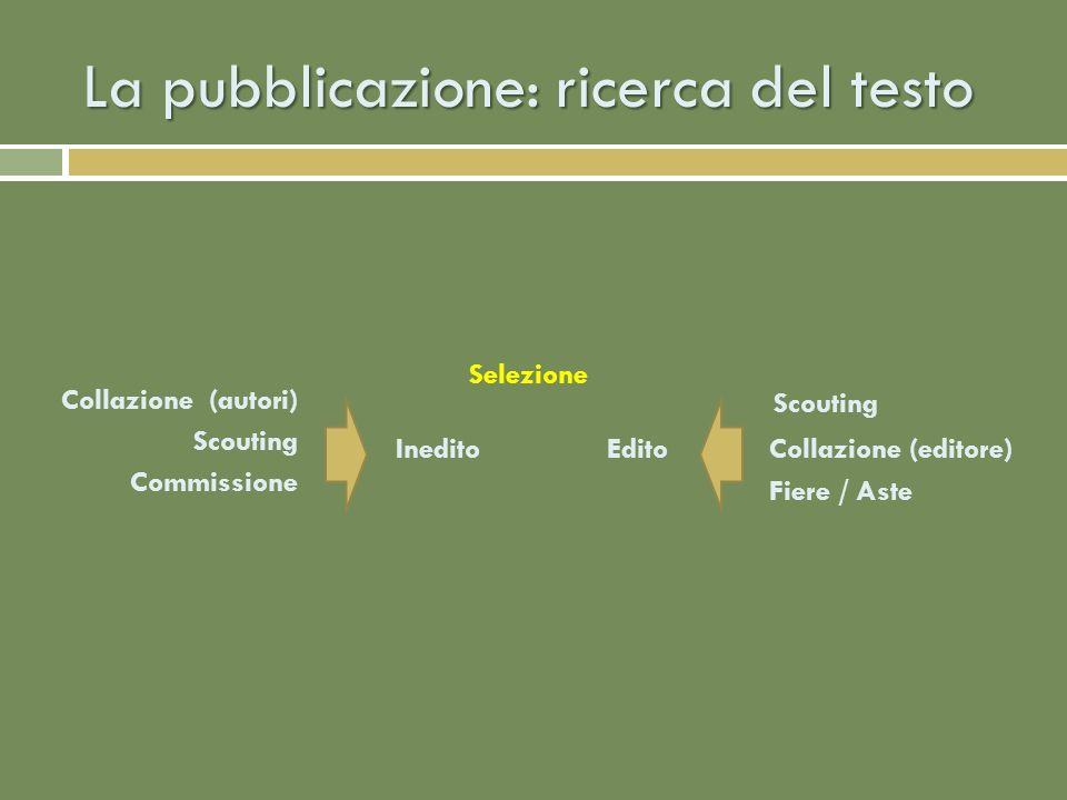 La pubblicazione: preparazione di un inedito Lettura Richiesta di variazioni Stipula di un contratto editoriale Acquisizione del testo definitivo per la stampa