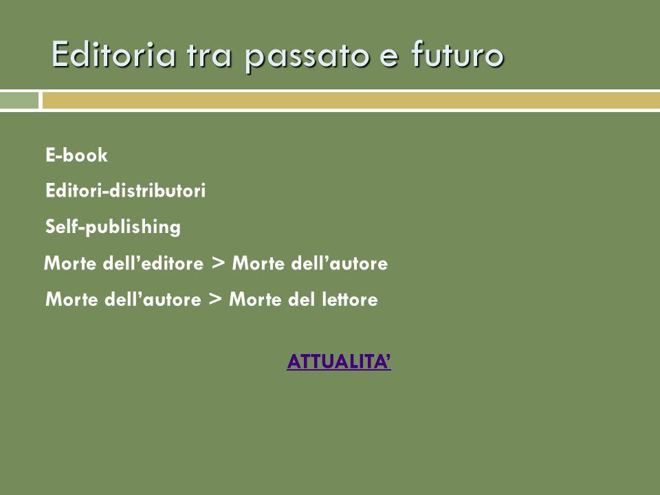 Editoria tra passato e futuro E-book ATTUALITA Editori-distributori Self-publishing Morte delleditore > Morte dellautore Morte dellautore > Morte del lettore