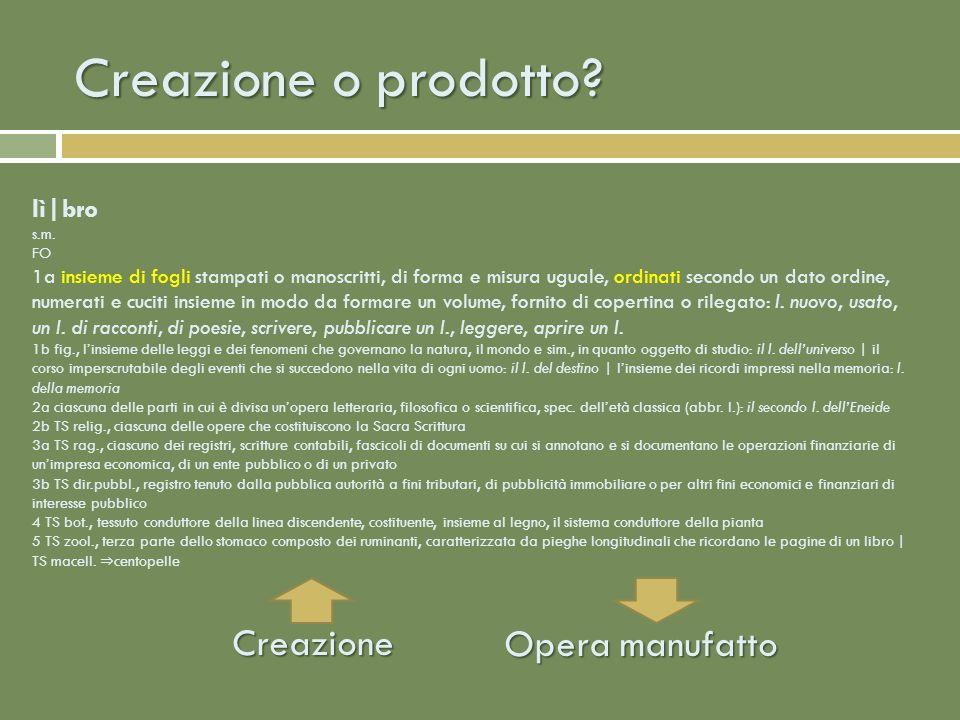 Creazione o prodotto.Creazione Opera manufatto lì|bro s.m.