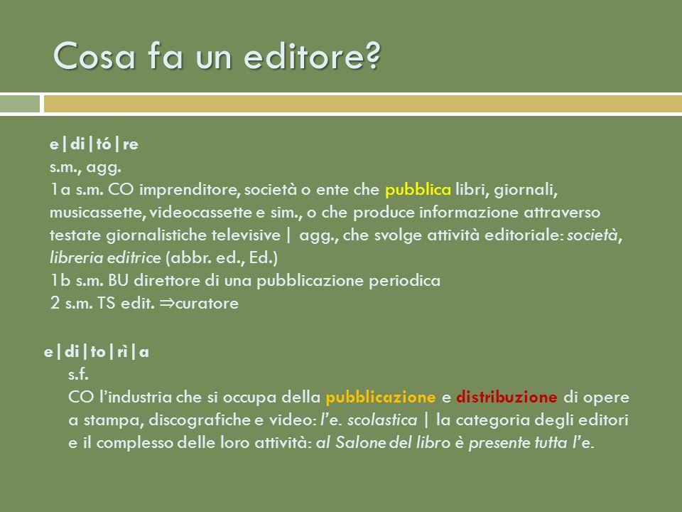 Cosa fa un editore.e|di|to|rì|a s.f.