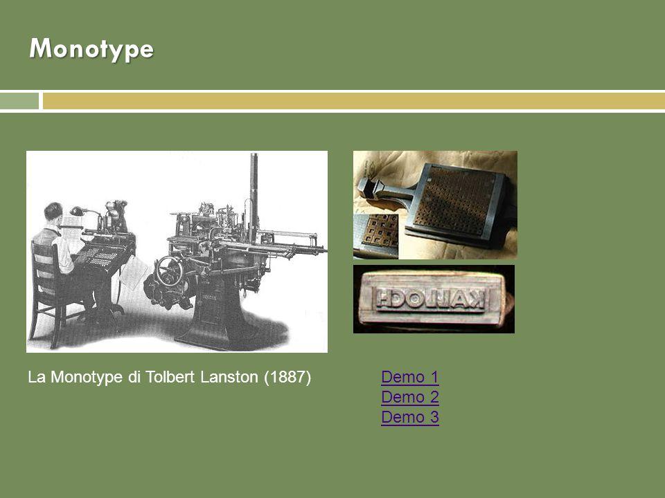 Monotype La Monotype di Tolbert Lanston (1887)Demo 1 Demo 2 Demo 3