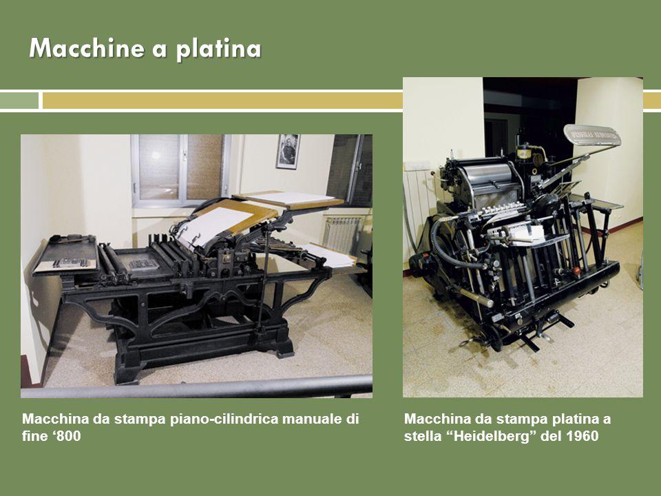 Macchine a platina Macchina da stampa piano-cilindrica manuale di fine 800 Macchina da stampa platina a stella Heidelberg del 1960