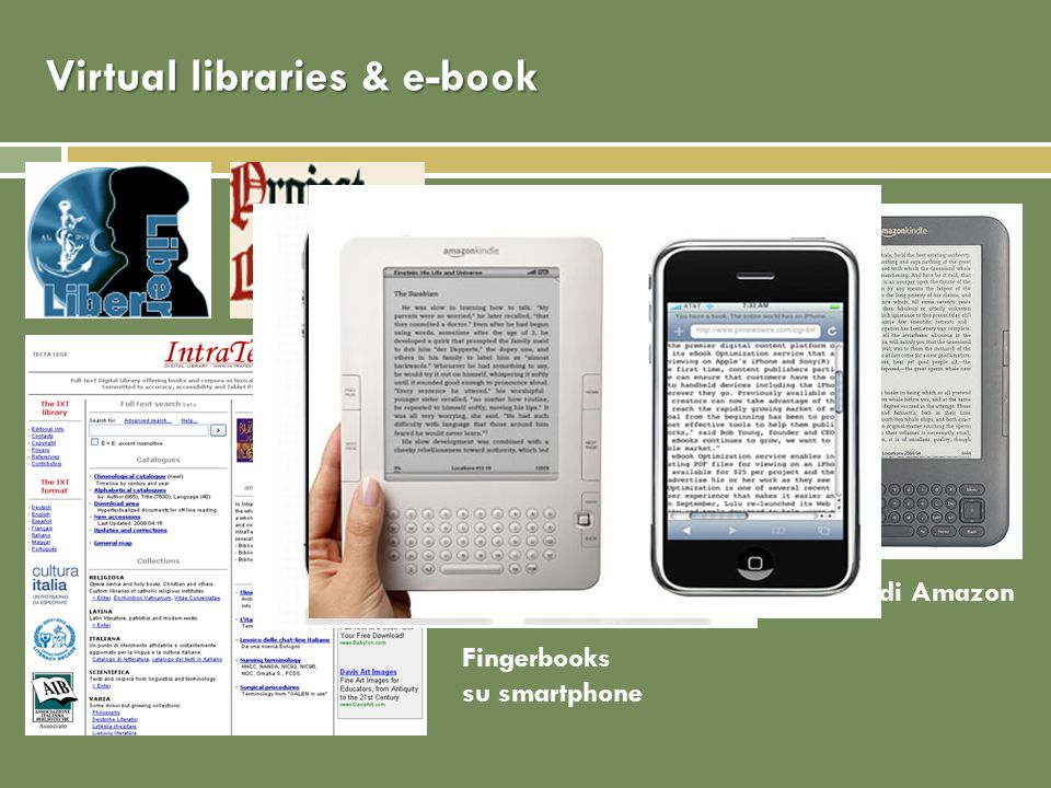 Virtual libraries & e-book Kindle di Amazon Fingerbooks su smartphone