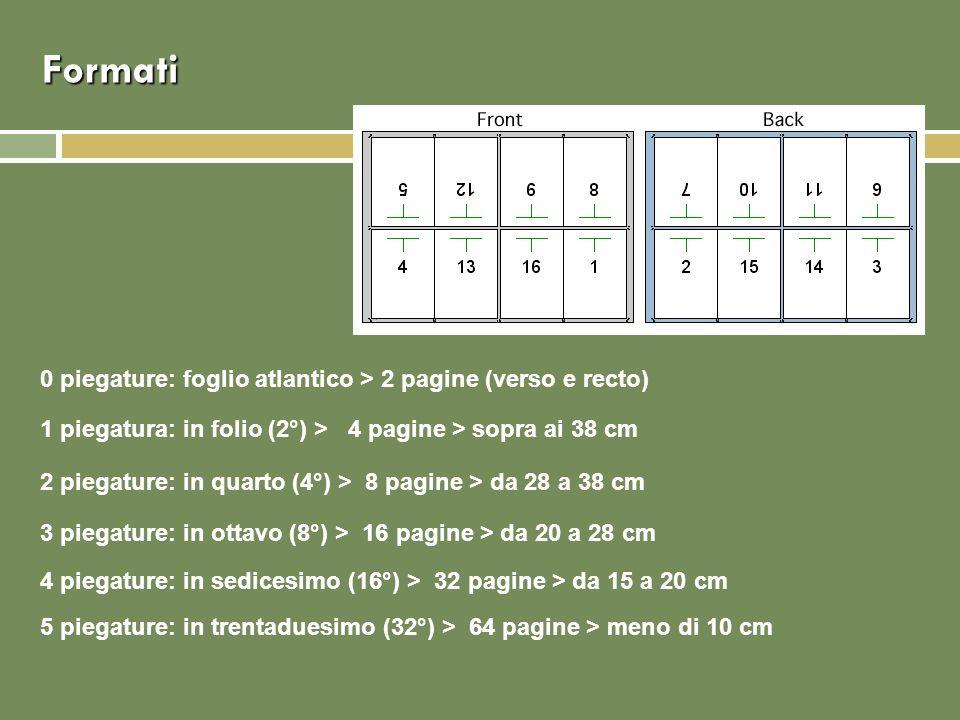 Formati 0 piegature: foglio atlantico > 2 pagine (verso e recto) 1 piegatura: in folio (2°) > 4 pagine > sopra ai 38 cm 2 piegature: in quarto (4°) > 8 pagine > da 28 a 38 cm 3 piegature: in ottavo (8°) > 16 pagine > da 20 a 28 cm 4 piegature: in sedicesimo (16°) > 32 pagine > da 15 a 20 cm 5 piegature: in trentaduesimo (32°) > 64 pagine > meno di 10 cm