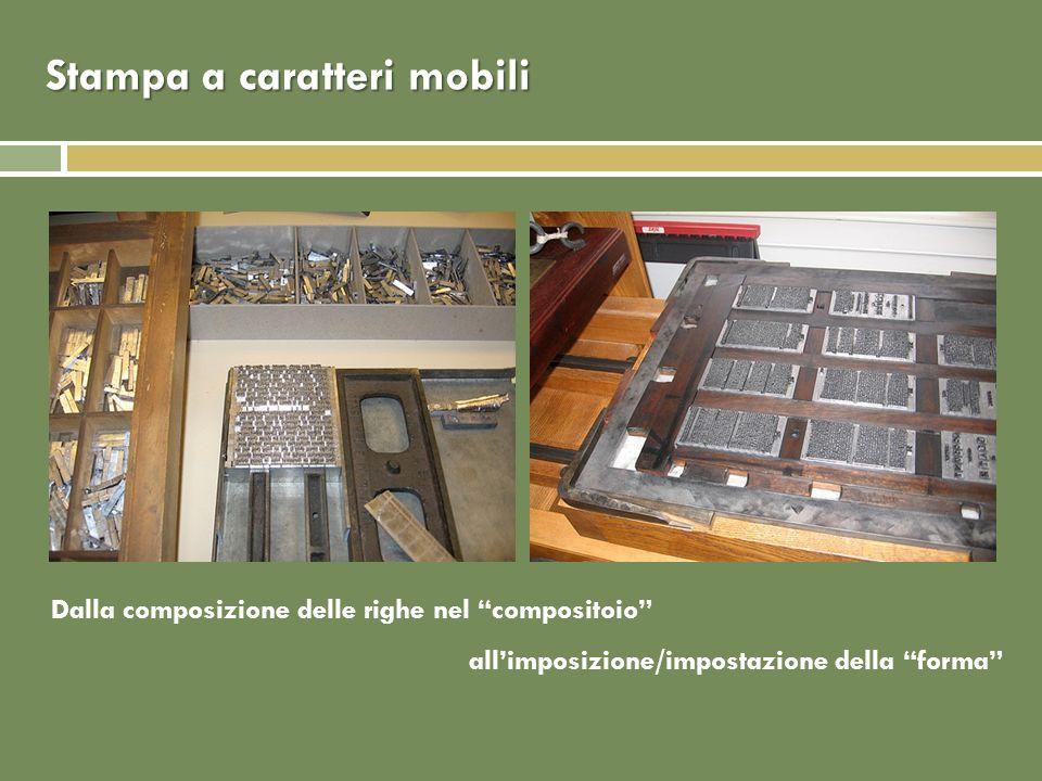 Stampa a caratteri mobili Dalla composizione delle righe nel compositoio allimposizione/impostazione della forma
