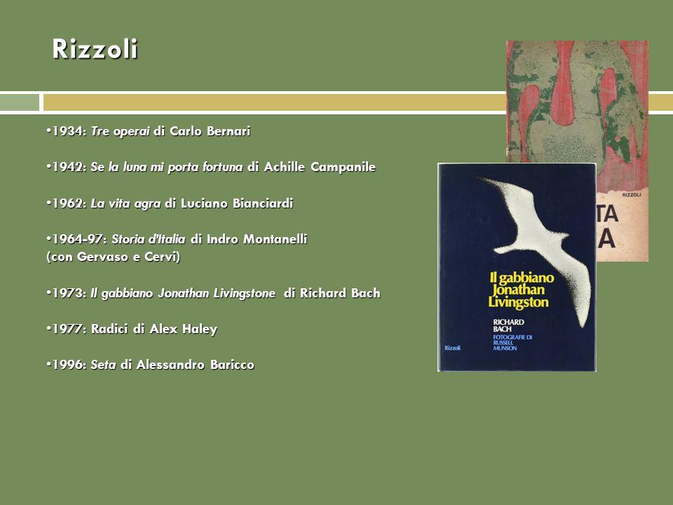 Rizzoli 1934: Tre operai di Carlo Bernari1934: Tre operai di Carlo Bernari 1942: Se la luna mi porta fortuna di Achille Campanile1942: Se la luna mi p