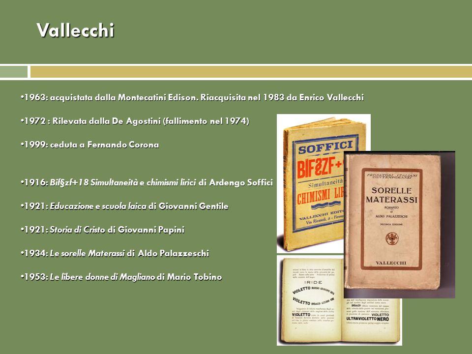 Vallecchi 1963: acquistata dalla Montecatini Edison. Riacquisita nel 1983 da Enrico Vallecchi1963: acquistata dalla Montecatini Edison. Riacquisita ne