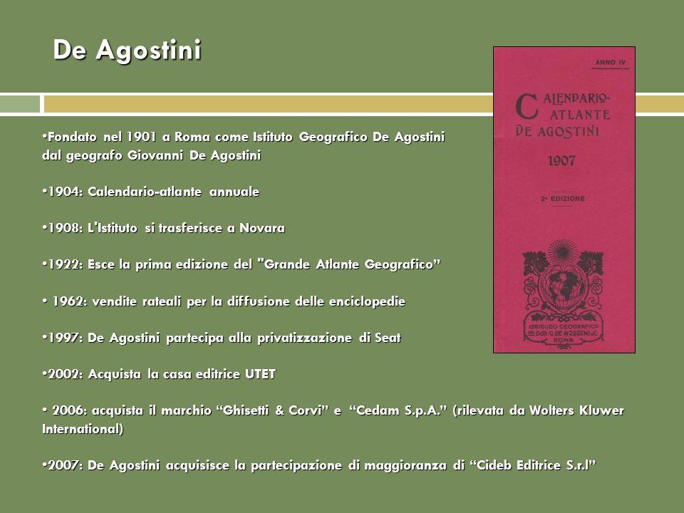 De Agostini Fondato nel 1901 a Roma come Istituto Geografico De Agostini dal geografo Giovanni De AgostiniFondato nel 1901 a Roma come Istituto Geogra