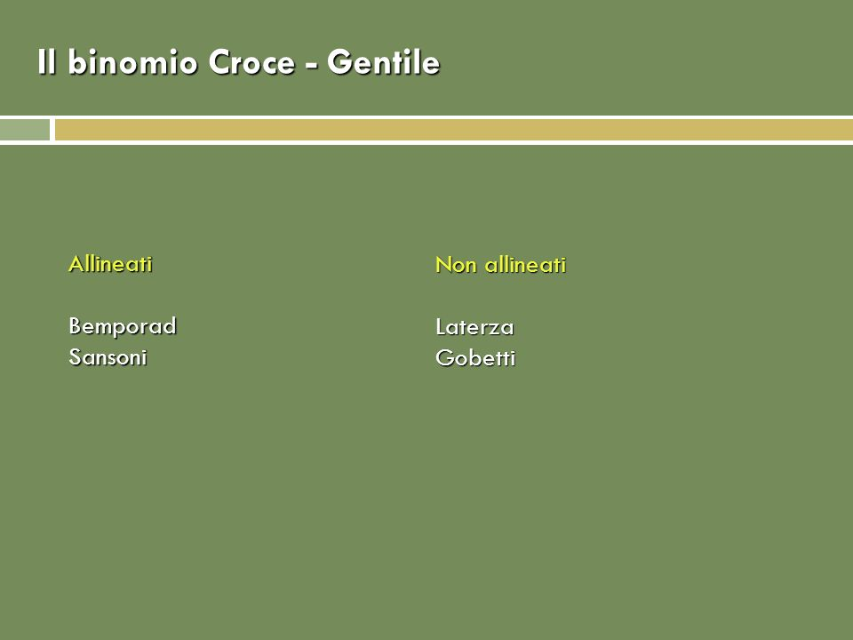 Il binomio Croce - Gentile AllineatiBemporadSansoni Non allineati LaterzaGobetti