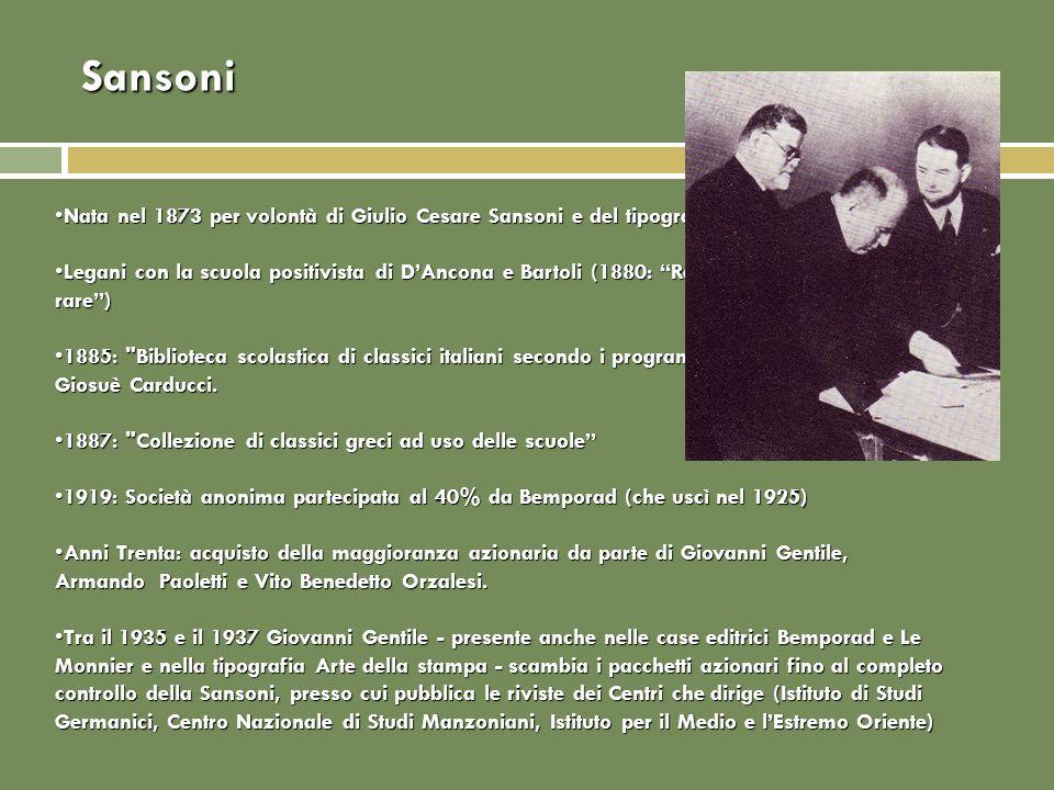 Sansoni Nata nel 1873 per volontà di Giulio Cesare Sansoni e del tipografo Giovanni Carrnesecchi.Nata nel 1873 per volontà di Giulio Cesare Sansoni e