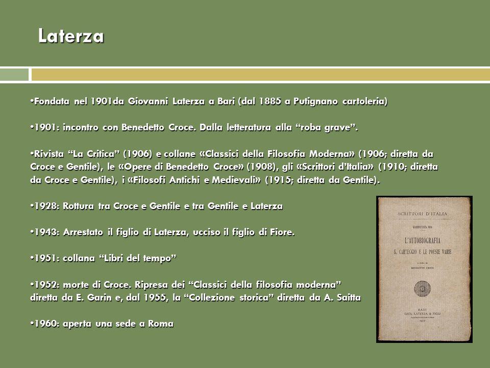 Laterza Fondata nel 1901da Giovanni Laterza a Bari (dal 1885 a Putignano cartoleria)Fondata nel 1901da Giovanni Laterza a Bari (dal 1885 a Putignano c