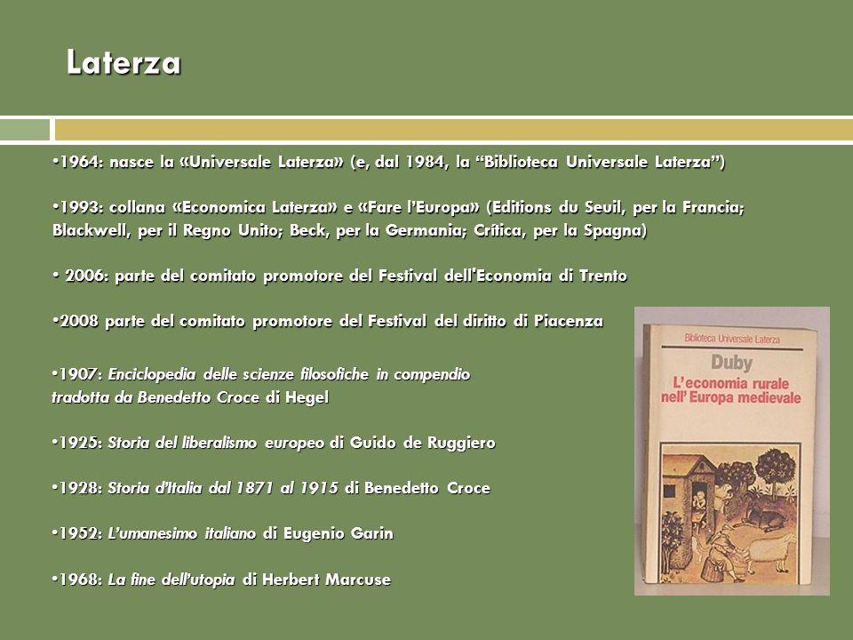 Laterza 1964: nasce la «Universale Laterza» (e, dal 1984, la Biblioteca Universale Laterza)1964: nasce la «Universale Laterza» (e, dal 1984, la Biblio