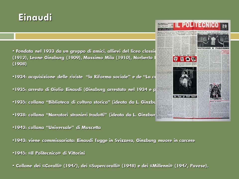 Einaudi Fondata nel 1933 da un gruppo di amici, allievi del liceo classico D'Azeglio: Giulio Einaudi (1912), Leone Ginzburg (1909), Massimo Mila (1910