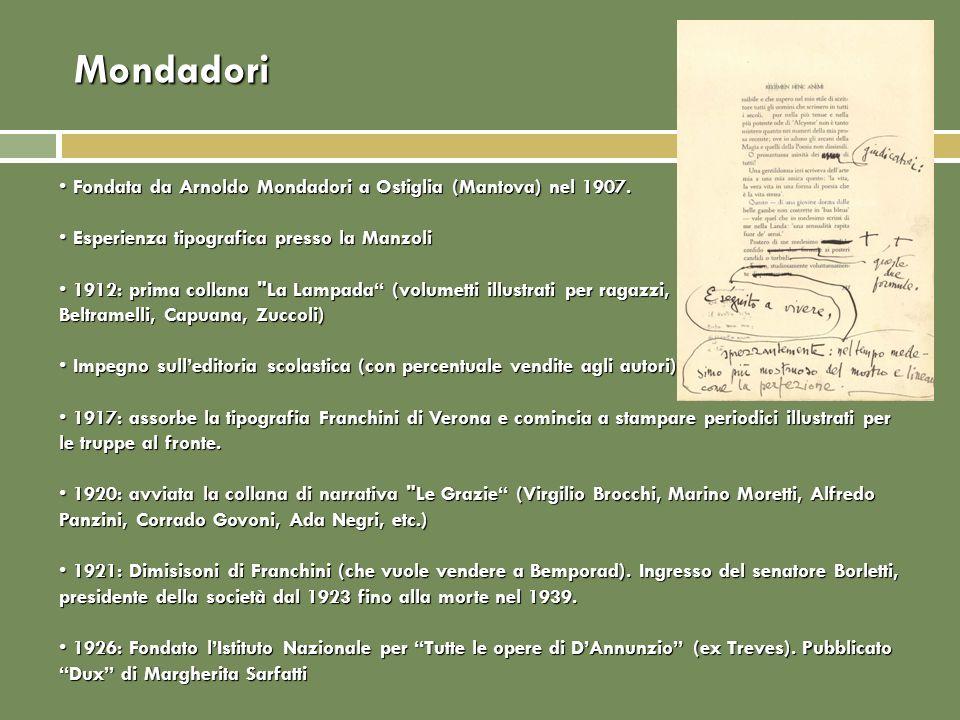 Mondadori Fondata da Arnoldo Mondadori a Ostiglia (Mantova) nel 1907. Fondata da Arnoldo Mondadori a Ostiglia (Mantova) nel 1907. Esperienza tipografi