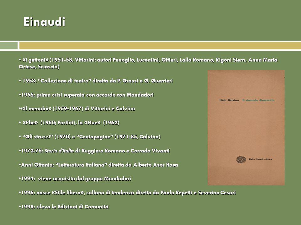 Einaudi «I gettoni» (1951-58, Vittorini: autori Fenoglio, Lucentini, Ottieri, Lalla Romano, Rigoni Stern, Anna Maria Ortese, Sciascia) «I gettoni» (19