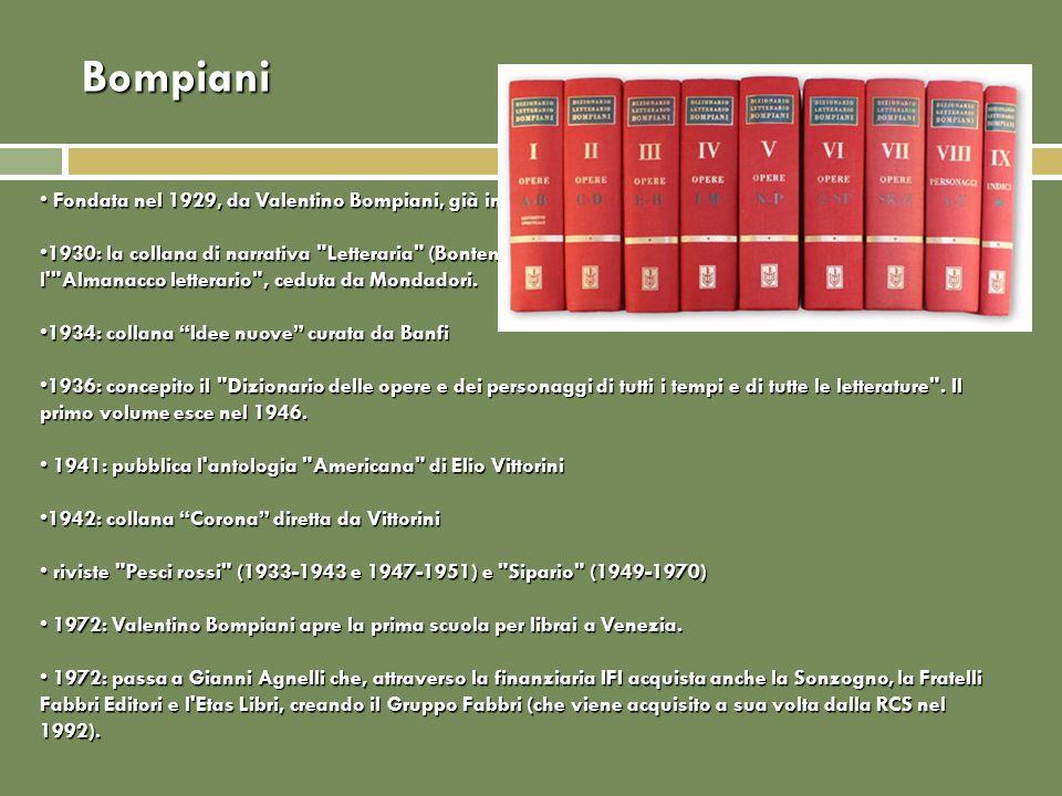 Bompiani Fondata nel 1929, da Valentino Bompiani, già in Mondadori e già direttore della Unitas Fondata nel 1929, da Valentino Bompiani, già in Mondad
