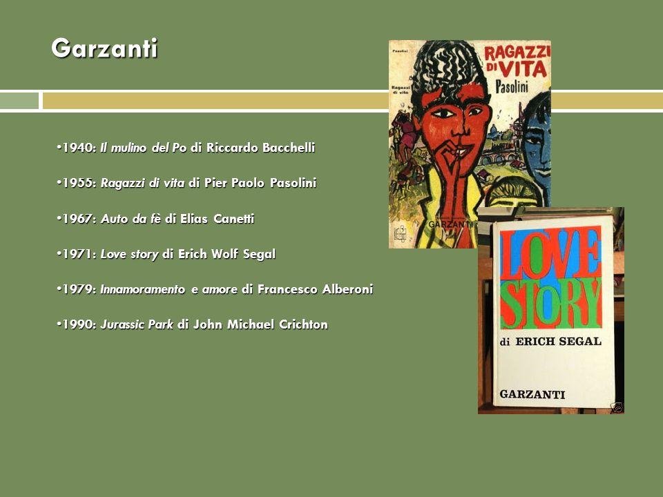 Garzanti 1940: Il mulino del Po di Riccardo Bacchelli1940: Il mulino del Po di Riccardo Bacchelli 1955: Ragazzi di vita di Pier Paolo Pasolini1955: Ra