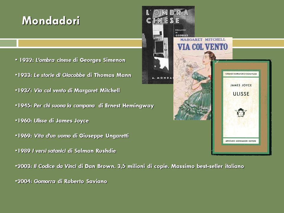 Mondadori 1932: Lombra cinese di Georges Simenon 1932: Lombra cinese di Georges Simenon 1933: Le storie di Giacobbe di Thomas Mann1933: Le storie di G