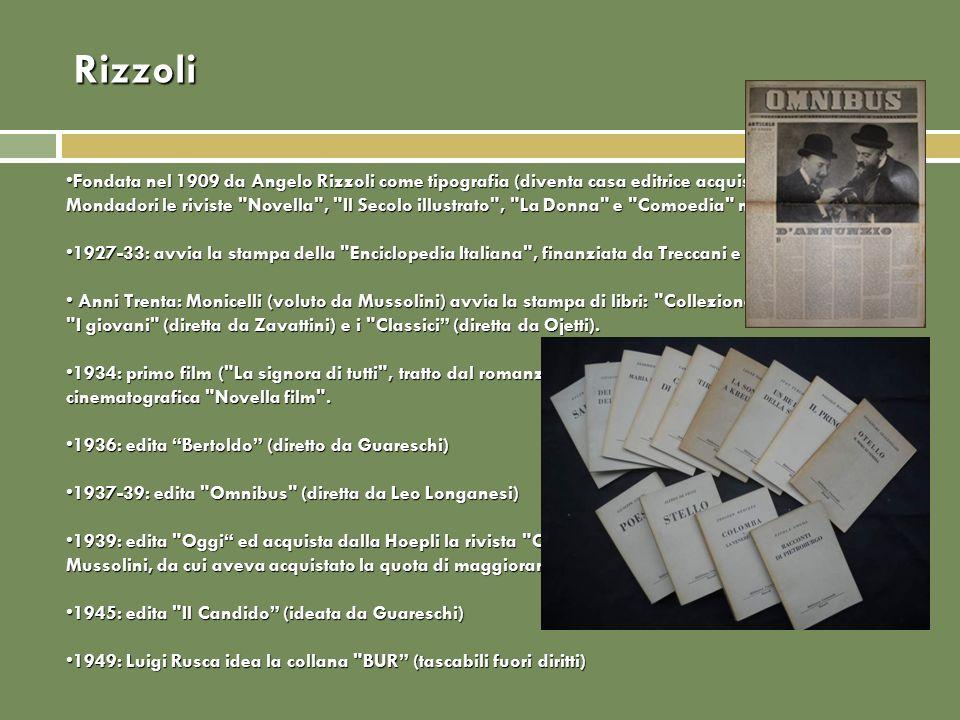Rizzoli Fondata nel 1909 da Angelo Rizzoli come tipografia (diventa casa editrice acquistando da Mondadori le riviste
