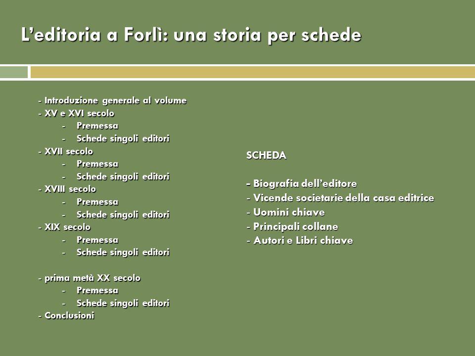 Leditoria a Forlì: XVI-XVI secolo XV-XVI secolo Paolo GuariniValeria Bottone Giovanni Giacomo de BenedettiValeria Bottone Giovanni Giacomo FontanesiValeria Bottone