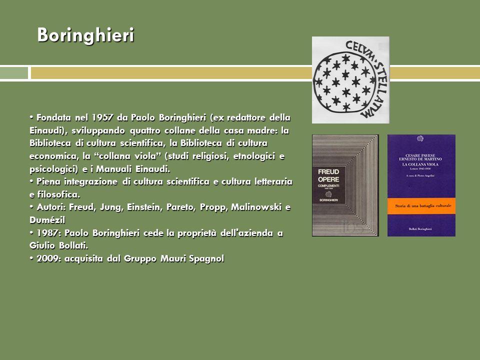 Boringhieri Fondata nel 1957 da Paolo Boringhieri (ex redattore della Einaudi), sviluppando quattro collane della casa madre: la Biblioteca di cultura