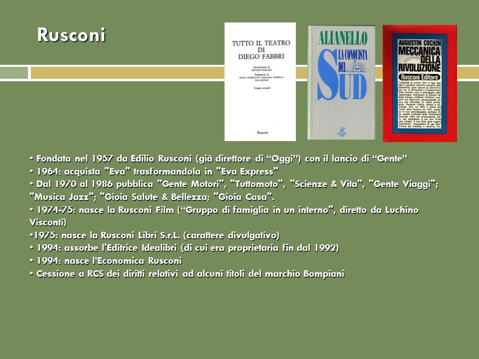Rusconi Fondata nel 1957 da Edilio Rusconi (già direttore di Oggi) con il lancio di Gente Fondata nel 1957 da Edilio Rusconi (già direttore di Oggi) c