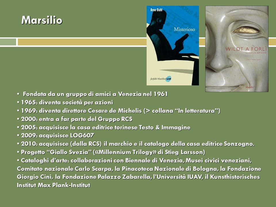 Marsilio Fondata da un gruppo di amici a Venezia nel 1961 Fondata da un gruppo di amici a Venezia nel 1961 1965: diventa società per azioni 1965: dive