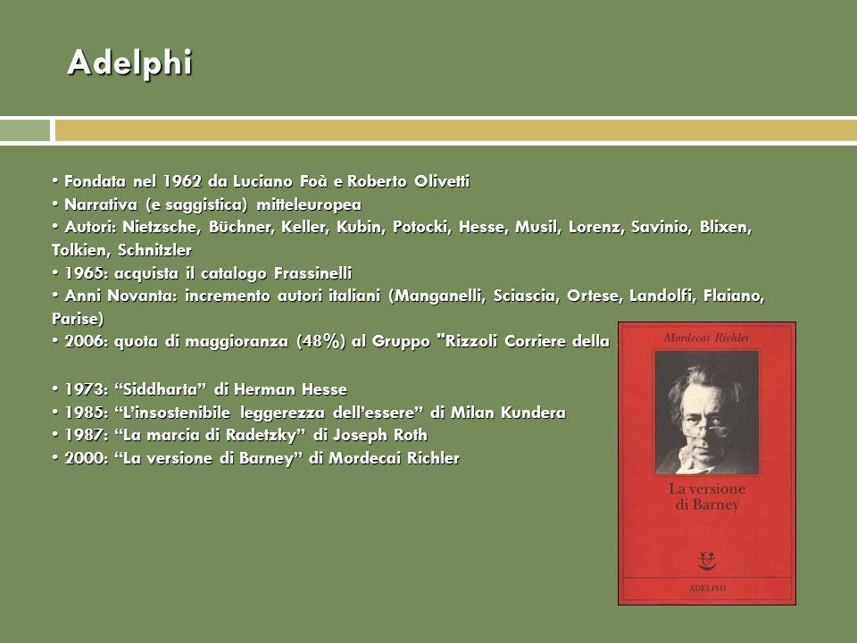 Adelphi Fondata nel 1962 da Luciano Foà e Roberto Olivetti Fondata nel 1962 da Luciano Foà e Roberto Olivetti Narrativa (e saggistica) mitteleuropea Narrativa (e saggistica) mitteleuropea Autori: Nietzsche, Büchner, Keller, Kubin, Potocki, Hesse, Musil, Lorenz, Savinio, Blixen, Tolkien, Schnitzler Autori: Nietzsche, Büchner, Keller, Kubin, Potocki, Hesse, Musil, Lorenz, Savinio, Blixen, Tolkien, Schnitzler 1965: acquista il catalogo Frassinelli 1965: acquista il catalogo Frassinelli Anni Novanta: incremento autori italiani (Manganelli, Sciascia, Ortese, Landolfi, Flaiano, Parise) Anni Novanta: incremento autori italiani (Manganelli, Sciascia, Ortese, Landolfi, Flaiano, Parise) 2006: quota di maggioranza (48%) al Gruppo Rizzoli Corriere della Sera 2006: quota di maggioranza (48%) al Gruppo Rizzoli Corriere della Sera 1973: Siddharta di Herman Hesse 1973: Siddharta di Herman Hesse 1985: Linsostenibile leggerezza dellessere di Milan Kundera 1985: Linsostenibile leggerezza dellessere di Milan Kundera 1987: La marcia di Radetzky di Joseph Roth 1987: La marcia di Radetzky di Joseph Roth 2000: La versione di Barney di Mordecai Richler 2000: La versione di Barney di Mordecai Richler