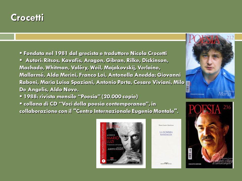 Crocetti Fondata nel 1981 dal grecista e traduttore Nicola Crocetti Fondata nel 1981 dal grecista e traduttore Nicola Crocetti Autori: Ritsos, Kavafis