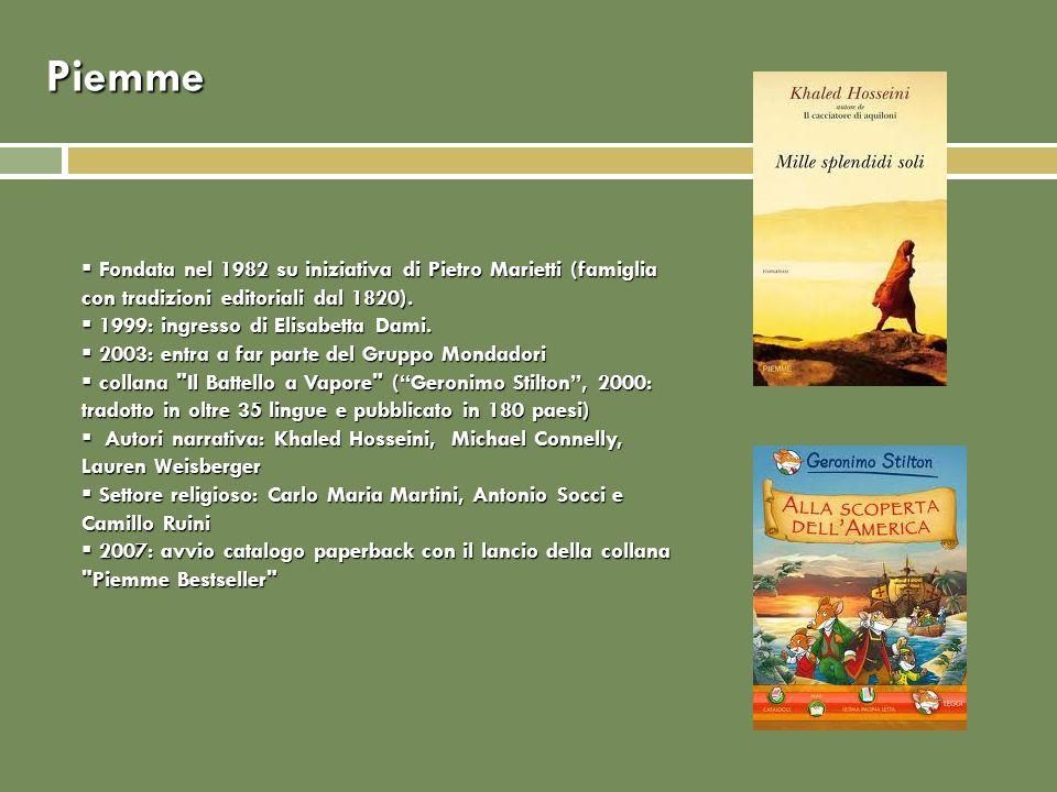 Piemme Fondata nel 1982 su iniziativa di Pietro Marietti (famiglia con tradizioni editoriali dal 1820).