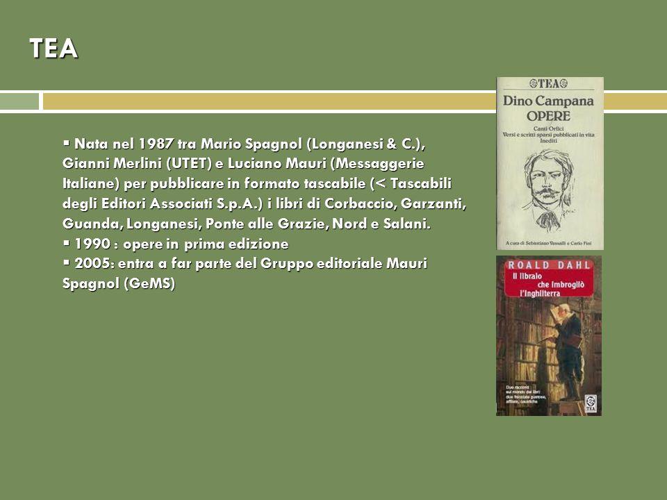 TEA Nata nel 1987 tra Mario Spagnol (Longanesi & C.), Gianni Merlini (UTET) e Luciano Mauri (Messaggerie Italiane) per pubblicare in formato tascabile
