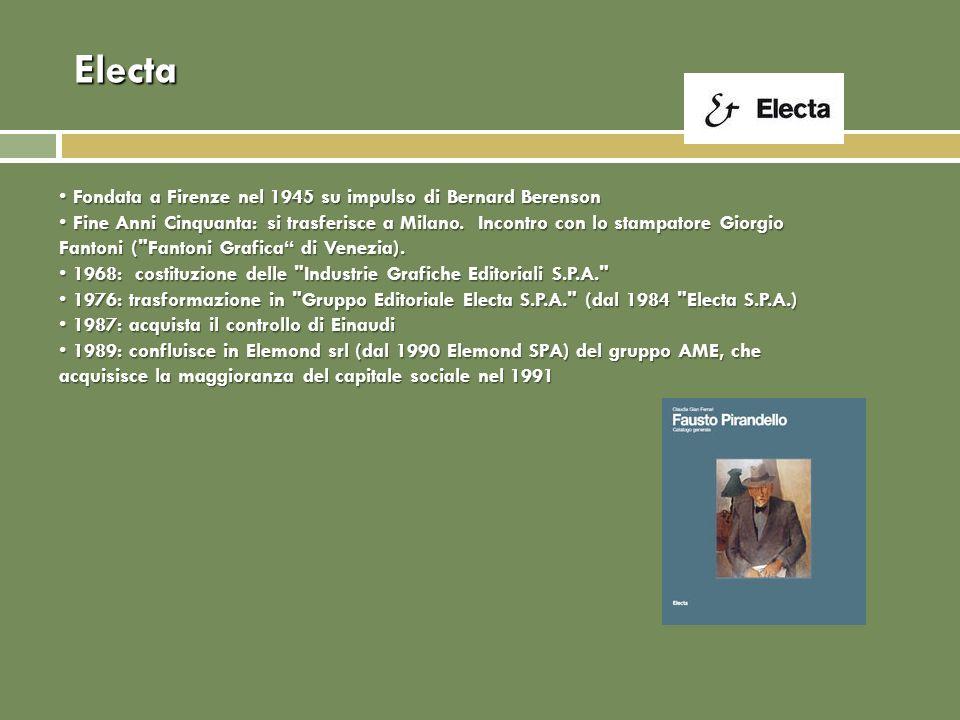 Electa Fondata a Firenze nel 1945 su impulso di Bernard Berenson Fondata a Firenze nel 1945 su impulso di Bernard Berenson Fine Anni Cinquanta: si trasferisce a Milano.
