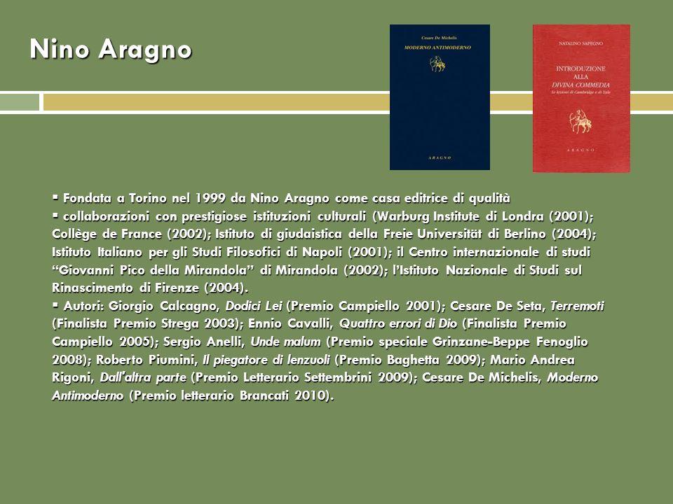 Nino Aragno Fondata a Torino nel 1999 da Nino Aragno come casa editrice di qualità Fondata a Torino nel 1999 da Nino Aragno come casa editrice di qualità collaborazioni con prestigiose istituzioni culturali (Warburg Institute di Londra (2001); Collège de France (2002); Istituto di giudaistica della Freie Universität di Berlino (2004); Istituto Italiano per gli Studi Filosofici di Napoli (2001); il Centro internazionale di studi Giovanni Pico della Mirandola di Mirandola (2002); lIstituto Nazionale di Studi sul Rinascimento di Firenze (2004).