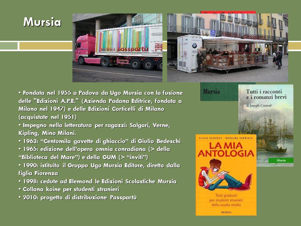 Mursia Fondata nel 1955 a Padova da Ugo Mursia con la fusione delle