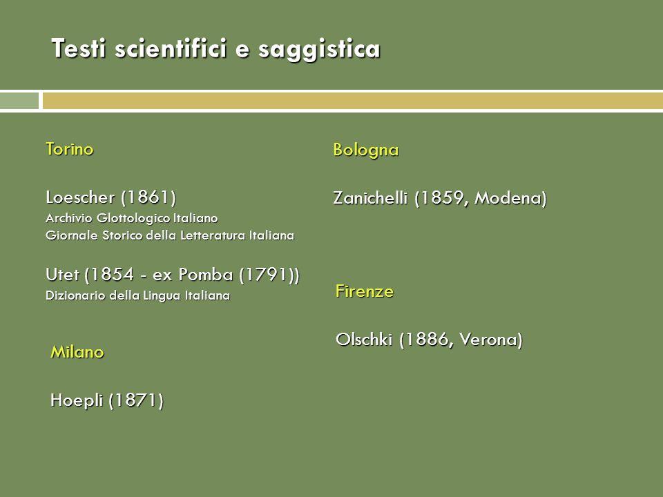 Testi scientifici e saggistica Torino Loescher (1861) Archivio Glottologico Italiano Giornale Storico della Letteratura Italiana Utet (1854 - ex Pomba