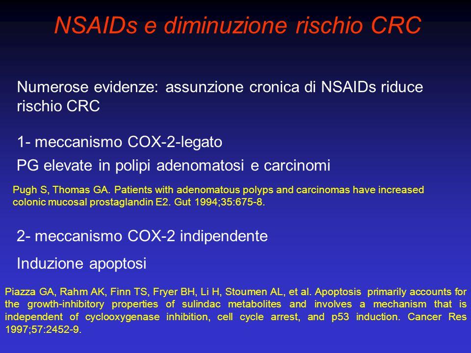 Numerose evidenze: assunzione cronica di NSAIDs riduce rischio CRC 1- meccanismo COX-2-legato NSAIDs e diminuzione rischio CRC PG elevate in polipi ad