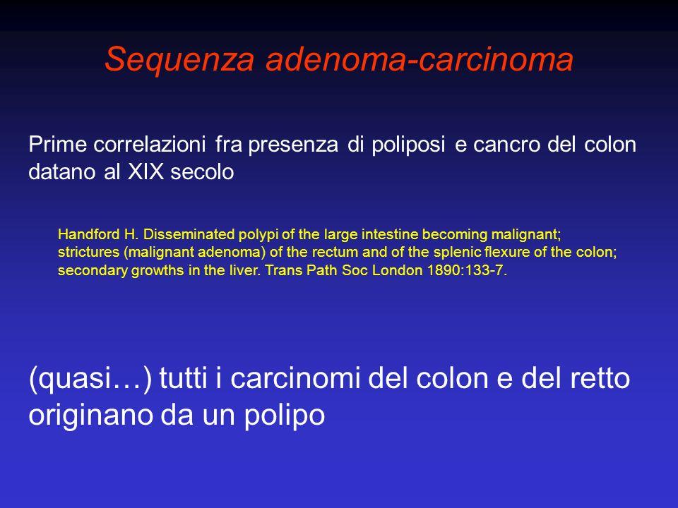 Sequenza adenoma-carcinoma Alcune considerazioni epidemiologiche Considerati come gruppo, i pazienti con adenoma sono in media 5 anni più giovani dei pazienti con carcinoma (tempo di progressione) Adenomi di dimensioni maggiori più facilmente esprimono anomalie genetiche, cromosomiche o istologiche (adenomi progenitori di carcinomi) La distribuzione anatomica di adenomi e carcinomi è simile