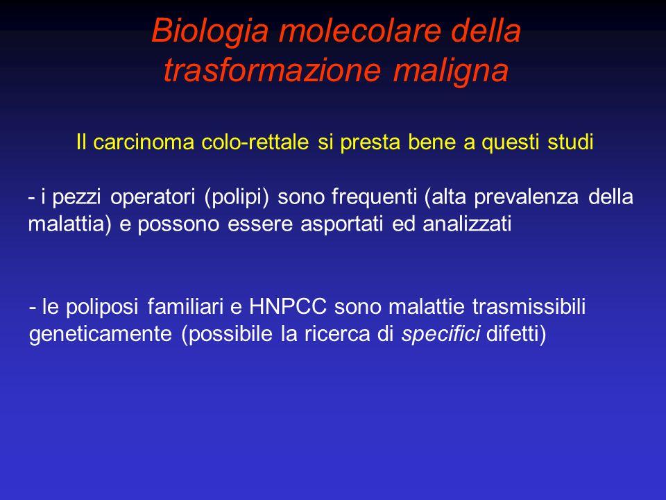 Biologia molecolare della trasformazione maligna Il carcinoma colo-rettale si presta bene a questi studi - i pezzi operatori (polipi) sono frequenti (