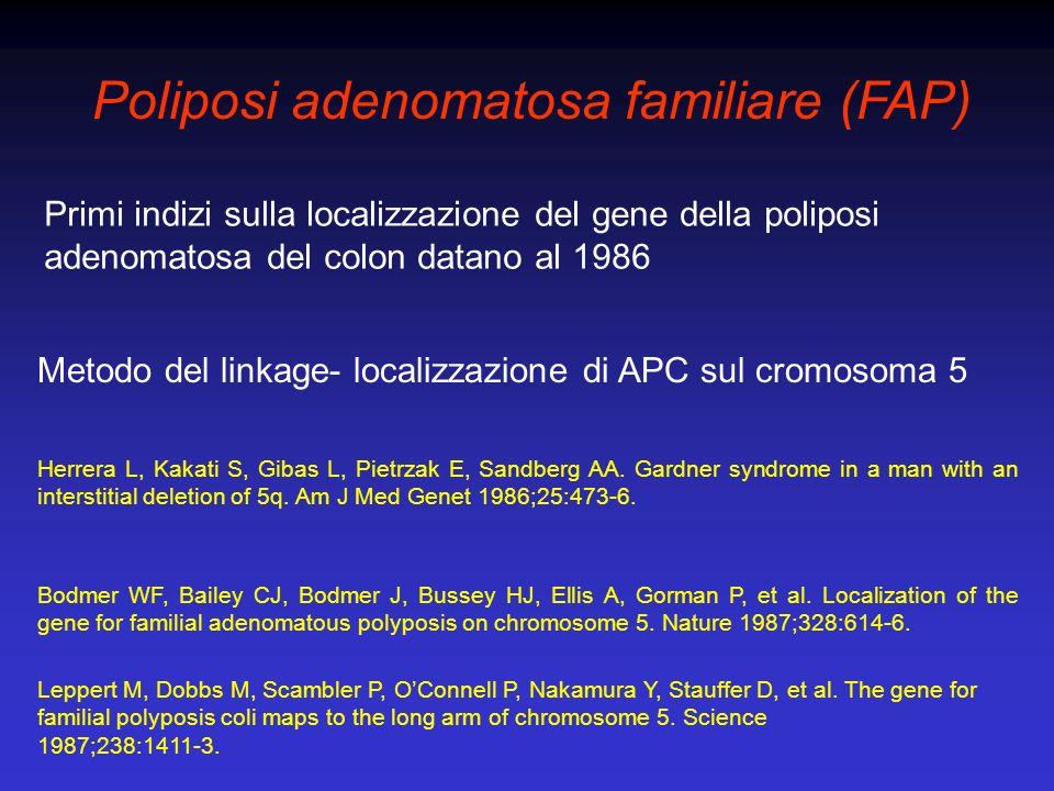 Carcinoma colorettale sporadico e APC 60-80% degli adenomi del colon hanno mutazioni somatiche di APC Mutazioni somatiche di APC sono un evento molto precoce nella sequenza adenoma- carcinoma Powell SM, Zilz N, Beazer-Barclay Y, Bryan TM, Hamilton SR, Thibodeau SN, et al.