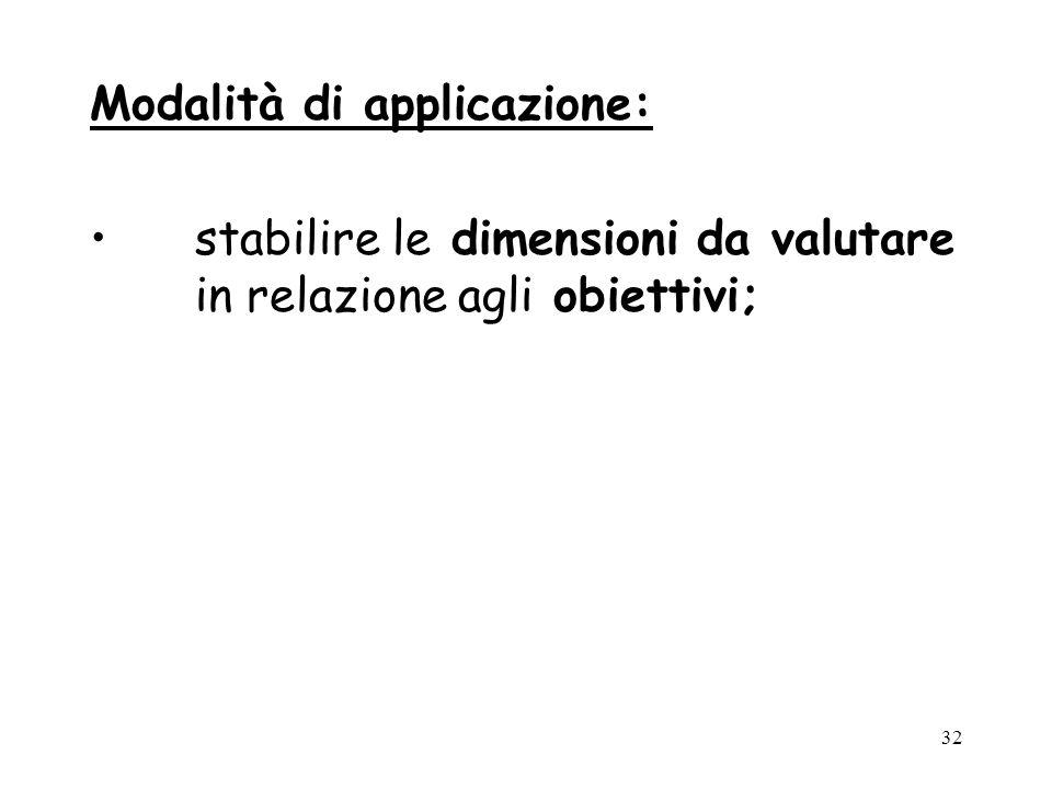 32 Modalità di applicazione: stabilire le dimensioni da valutare in relazione agli obiettivi;