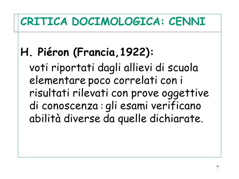 7 CRITICA DOCIMOLOGICA: CENNI H. Piéron (Francia,1922): voti riportati dagli allievi di scuola elementare poco correlati con i risultati rilevati con