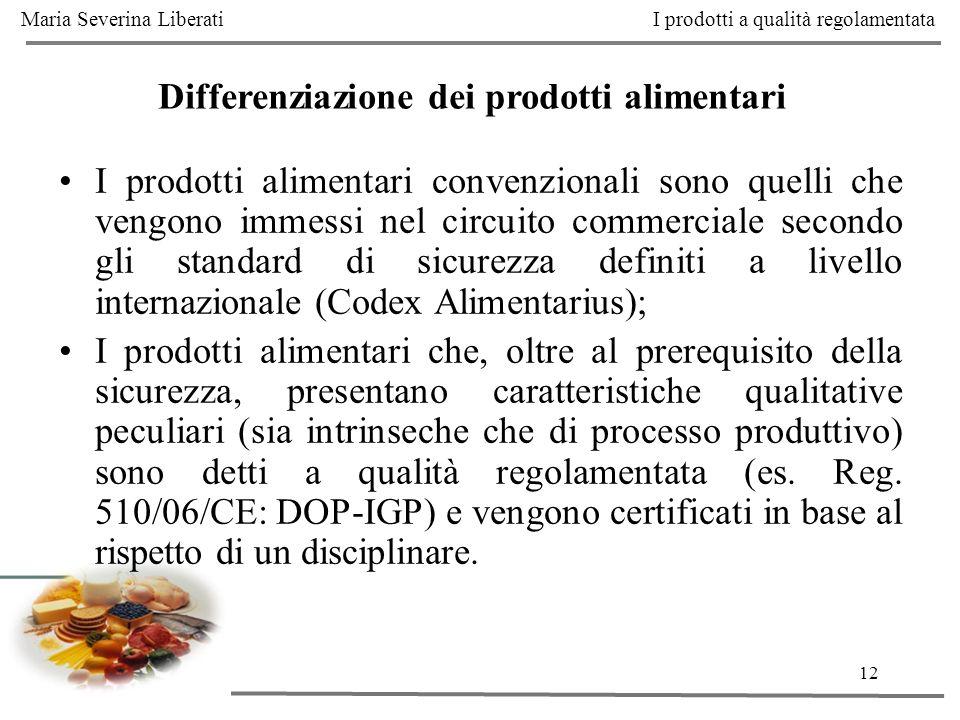 12 Differenziazione dei prodotti alimentari I prodotti alimentari convenzionali sono quelli che vengono immessi nel circuito commerciale secondo gli s