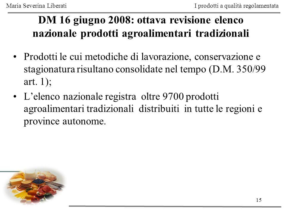 15 DM 16 giugno 2008: ottava revisione elenco nazionale prodotti agroalimentari tradizionali I prodotti a qualità regolamentata Prodotti le cui metodi