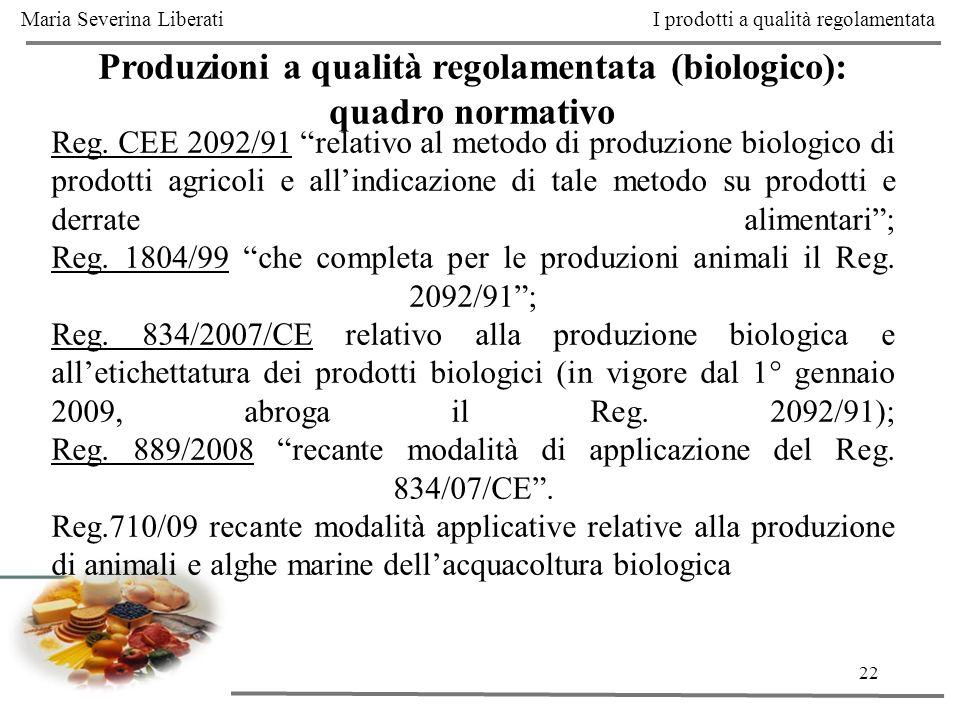 22 Produzioni a qualità regolamentata (biologico): quadro normativo Reg. CEE 2092/91 relativo al metodo di produzione biologico di prodotti agricoli e