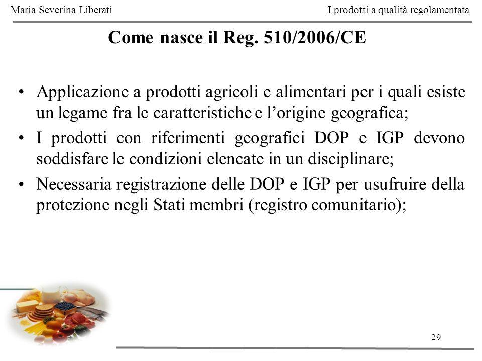 29 Come nasce il Reg. 510/2006/CE Applicazione a prodotti agricoli e alimentari per i quali esiste un legame fra le caratteristiche e lorigine geograf
