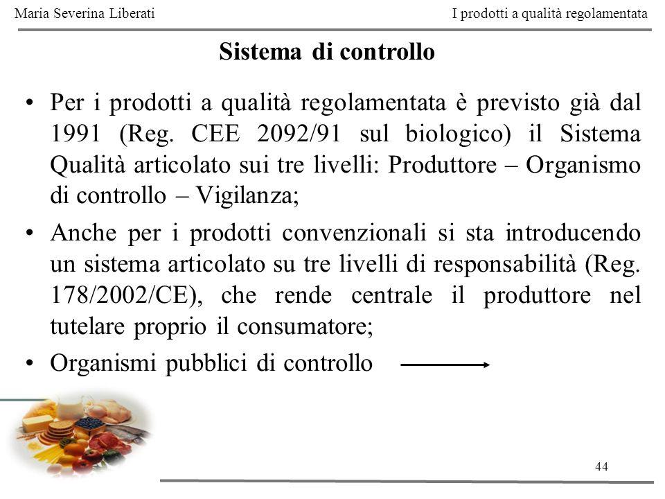 44 Sistema di controllo Per i prodotti a qualità regolamentata è previsto già dal 1991 (Reg. CEE 2092/91 sul biologico) il Sistema Qualità articolato
