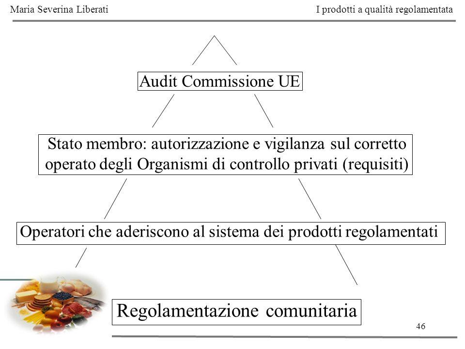46 Audit Commissione UE Stato membro: autorizzazione e vigilanza sul corretto operato degli Organismi di controllo privati (requisiti) Operatori che a