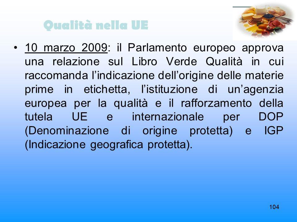 104 10 marzo 2009: il Parlamento europeo approva una relazione sul Libro Verde Qualità in cui raccomanda lindicazione dellorigine delle materie prime